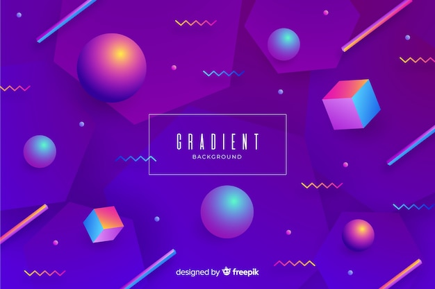 Gradient 3d geometric shapes background Free Vector