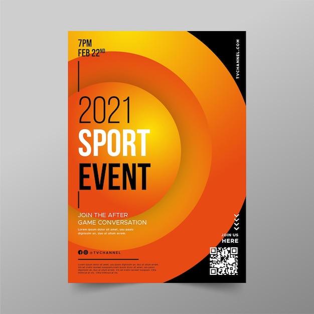 Modello del manifesto di evento sportivo dei cerchi arancio di pendenza 3d Vettore gratuito