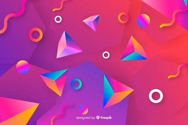 Gradient 3d shapes background Free Vector