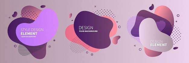 Gradient abstract banners with flowing liquid shapes Premium Vector