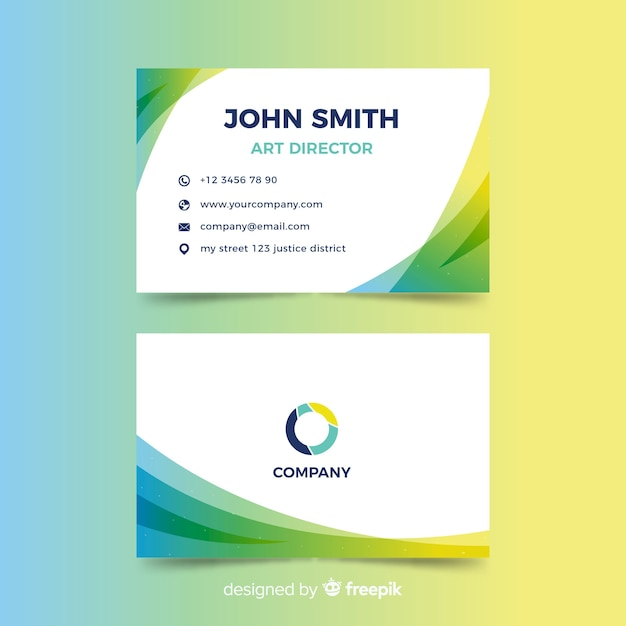 Gradient abstract business card in flat design Free Vector