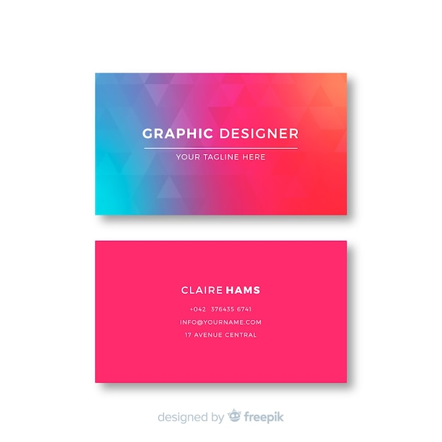 Gradient abstract geometric business card Free Vector