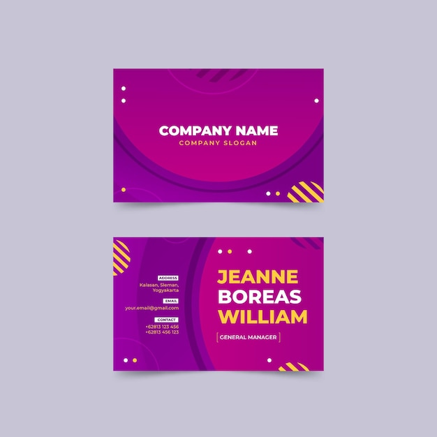 Gradient abstract horizontal business cards Free Vector