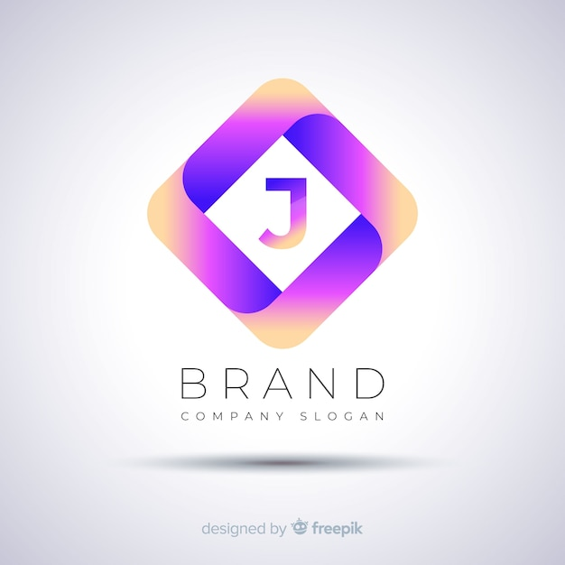 Gradient abstract polygonal logo template Free Vector