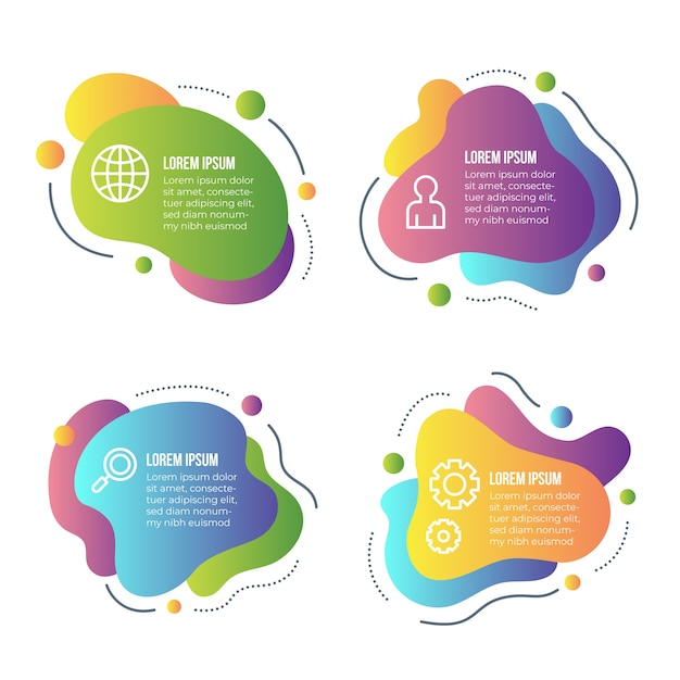 Gradient abstract shape infographic collection Premium Vector