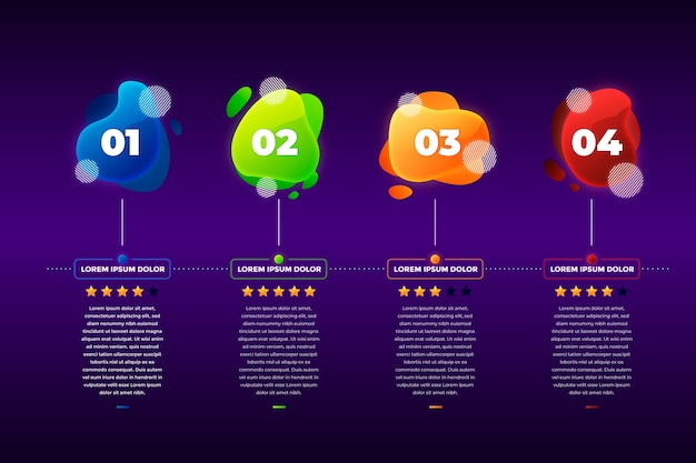 Gradient abstract shape infographic template Free Vector