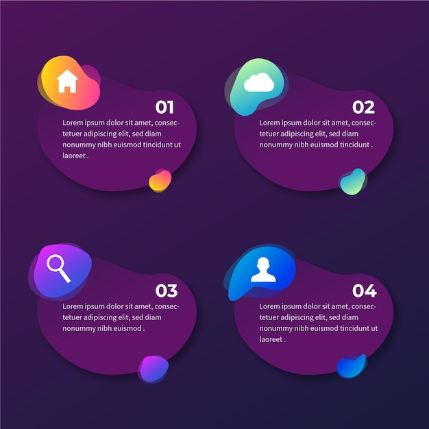 Gradient abstract shape infographic with icons Free Vector