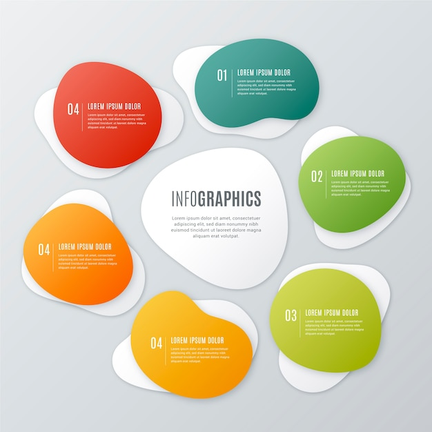 Gradient abstract shape infographic Free Vector