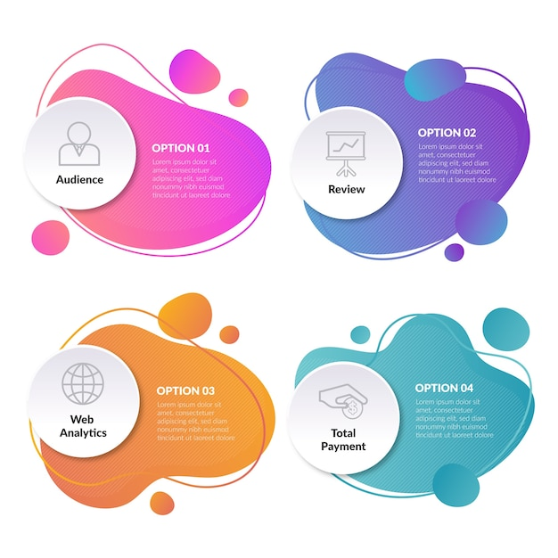 Gradient abstract shapes infographic Free Vector