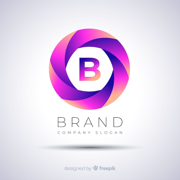 Gradient abstract spherical logo template Free Vector