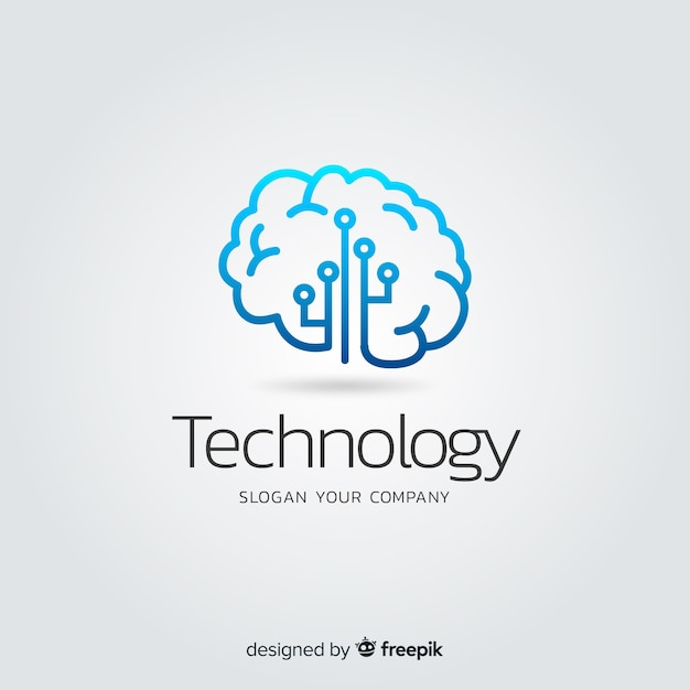 Gradient abstract technology company logotype Free Vector