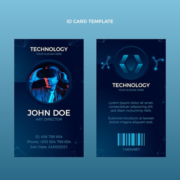 Gradient abstract technology id card Free Vector