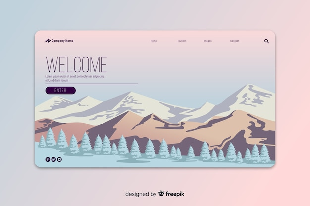 Gradient abstract welcome landing page Free Vector