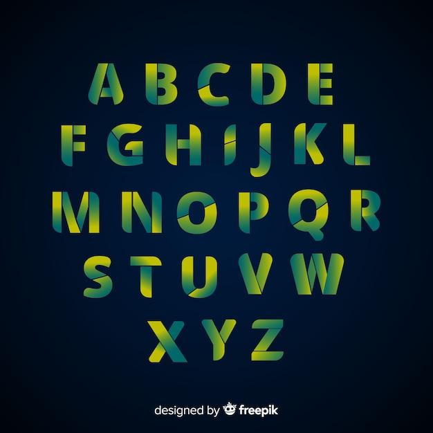 Gradient alphabet template flat design Free Vector