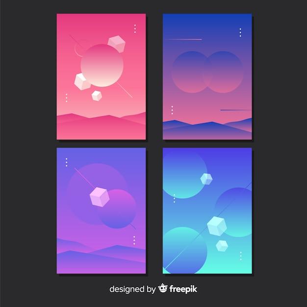 Gradient antigravity geometric shapes poster set Free Vector