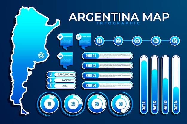 Градиент аргентины карта инфографики Бесплатные векторы