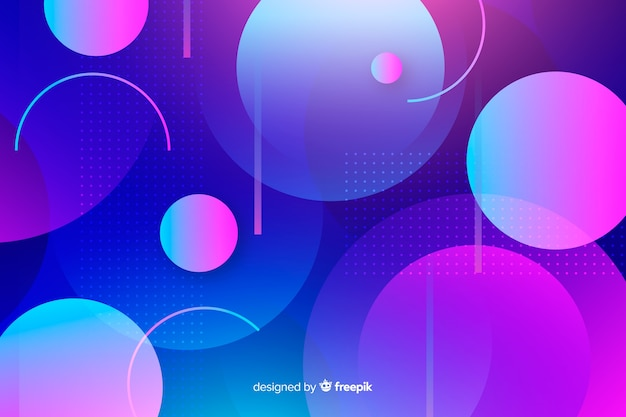Gradient background with geometric shapes Free Vector