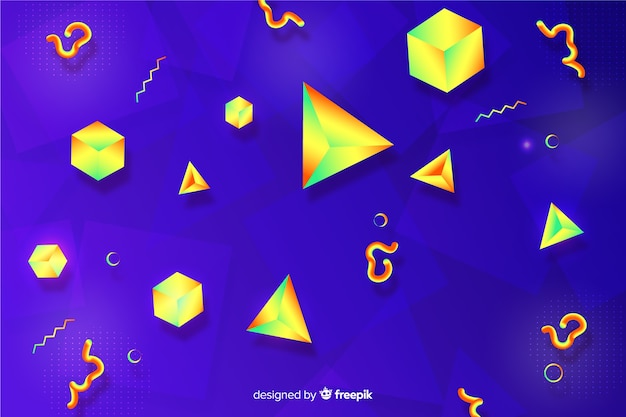 Gradient background with tridimensional shapes Free Vector