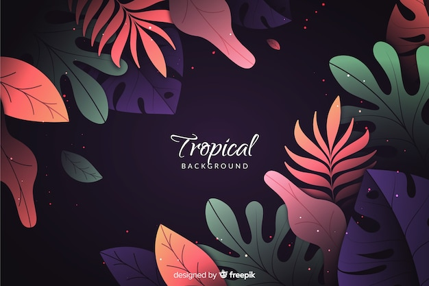 Gradient background with tropical leaves Free Vector
