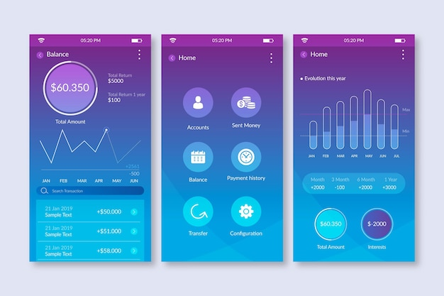 Gradient banking app interface with statistics Free Vector