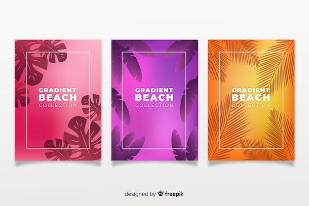 Gradient beach cover collection Free Vector