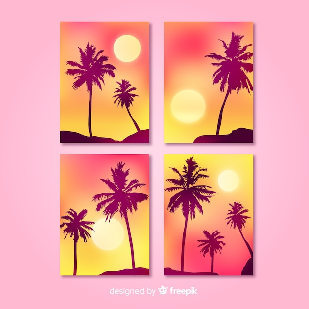Gradient beach cover templates collection Free Vector