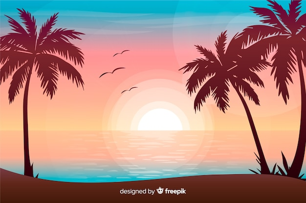 Gradient beach sunset landscape background Free Vector