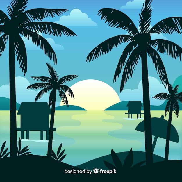 Gradient beach sunset landscape background Free Vector