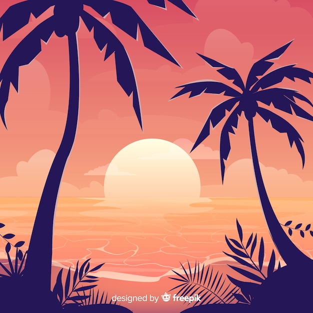 Gradient beach sunset landscape Free Vector