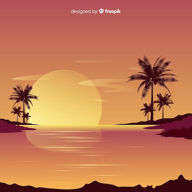 Gradient beach sunset landscape Free Vector
