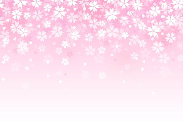 Gradient beautiful sakura flowers background Free Vector