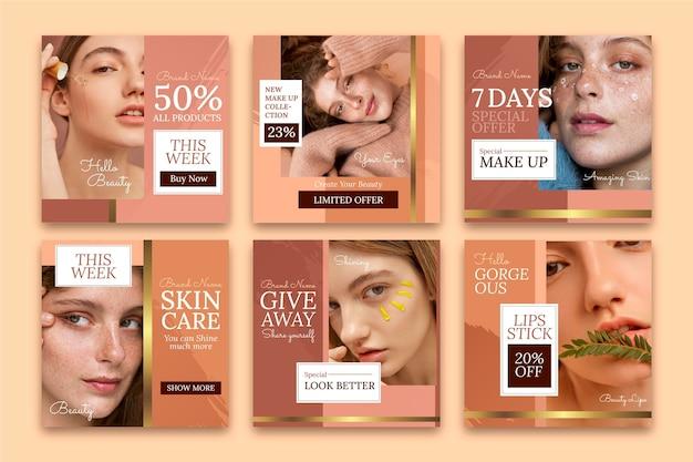 Gradient beauty instagram post collection Premium Vector