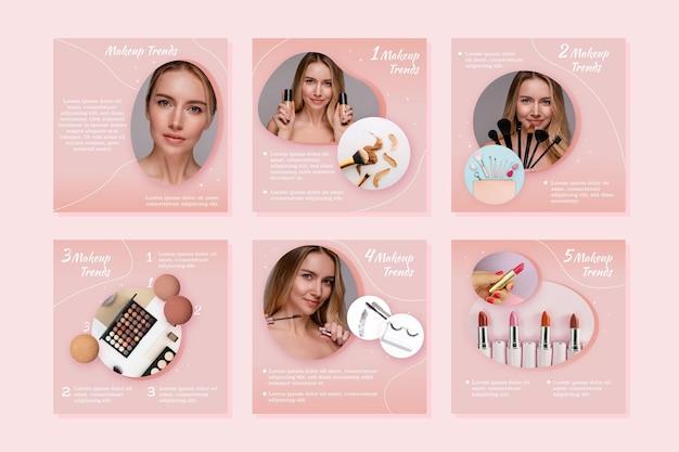 Gradient beauty instagram post set Premium Vector