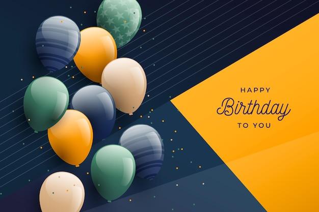 Градиентный фон дня рождения с воздушными шарами Бесплатные векторы