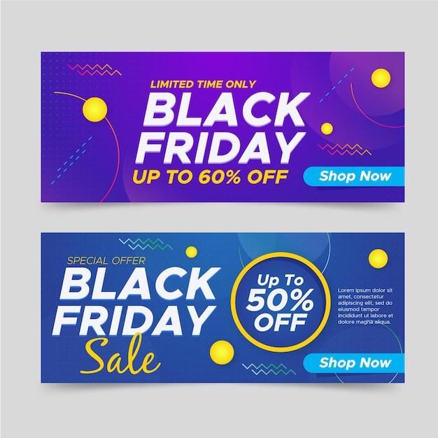 Gradient black friday banners template Premium Vector