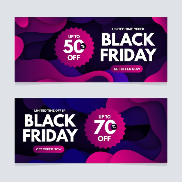 Gradient black friday banners template Free Vector
