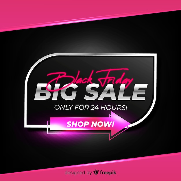 Gradient black friday big sale just for one day Free Vector