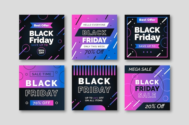 Gradient black friday instagram post collection Premium Vector