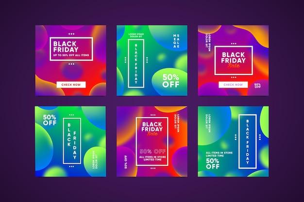 Набор градиентов черной пятницы instagram Premium векторы