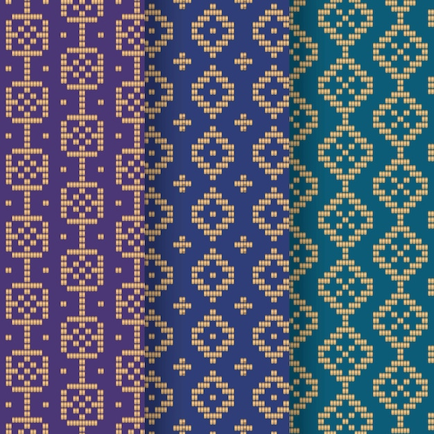 Gradient blue songket pattern collection Free Vector