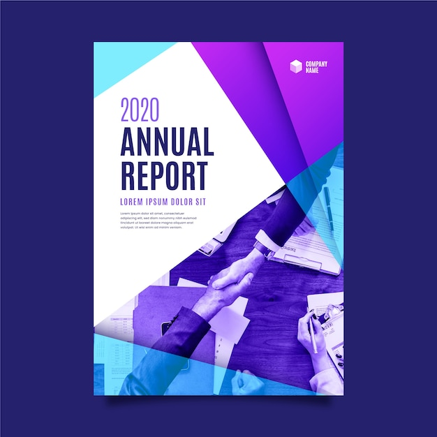 Gradient blue and violet colours abstract annual report Free Vector
