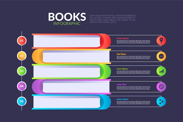 Шаблон инфографики книги градиента Бесплатные векторы