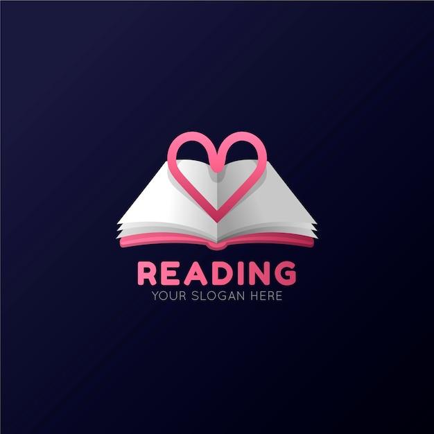 Логотип градиентной книги со слоганом Premium векторы