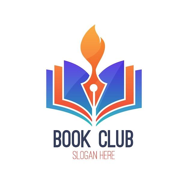 Логотип градиентной книги со слоганом Бесплатные векторы
