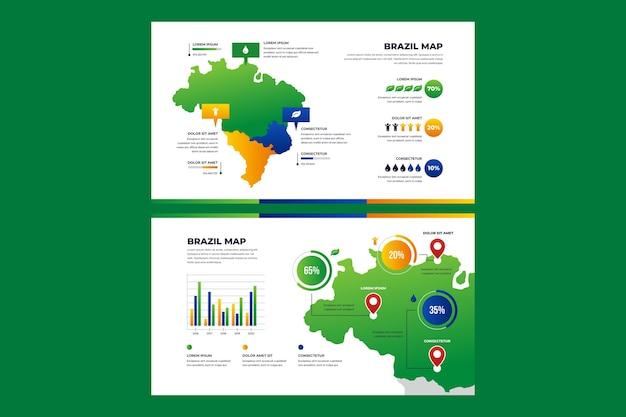 그라디언트 브라질지도 infographic 무료 벡터