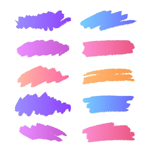 Gradient brush strokes collection Free Vector