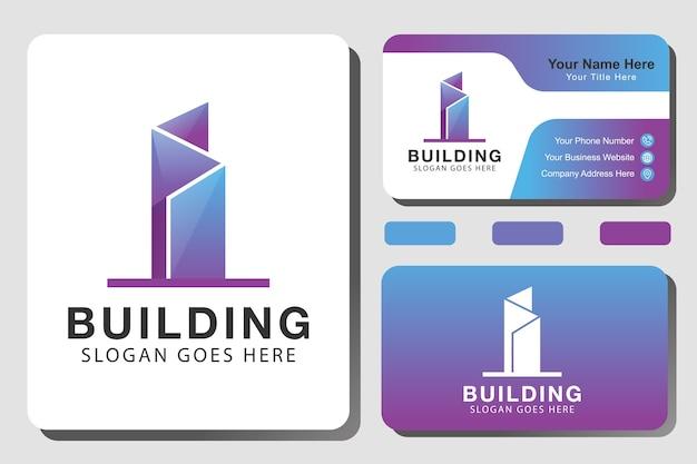 Градиентный логотип архитектуры здания, квартира, недвижимость, строительство, дизайн логотипа собственности с айдентикой Premium векторы