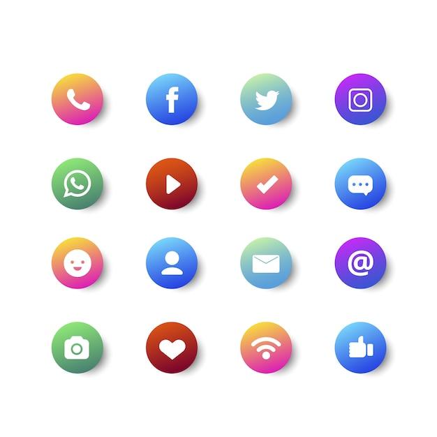 グラデーションの箇条書きとソーシャルメディアのアイコンコレクション 無料ベクター