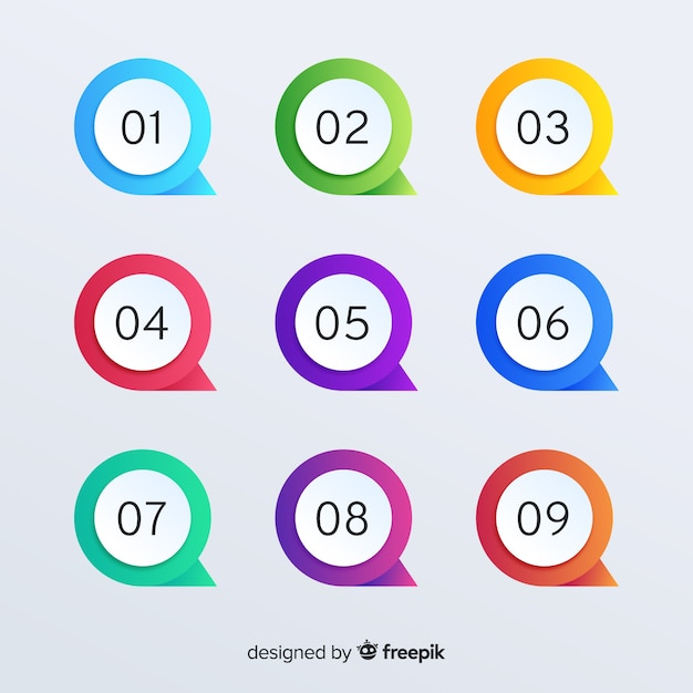 Gradient bullet point collection Free Vector