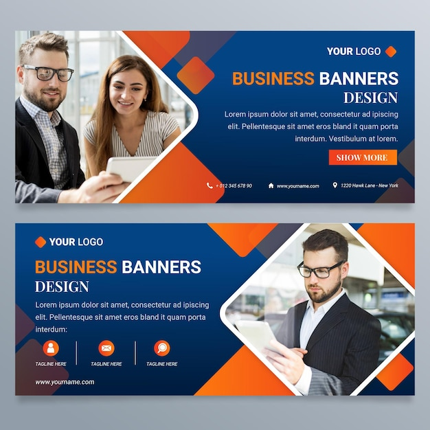 Gradient business banners design template Free Vector
